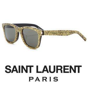 Saint Laurent • Gold Glitter Wayfarer Sunglasses